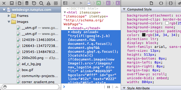 Screenshot Safari web inspector